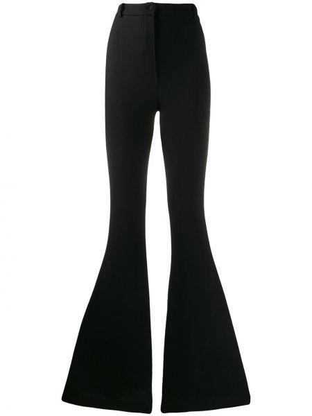 Шерстяные черные расклешенные брюки с поясом Hebe Studio