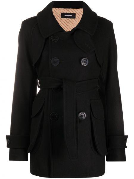 Черное шерстяное длинное пальто с воротником двубортное Dsquared2