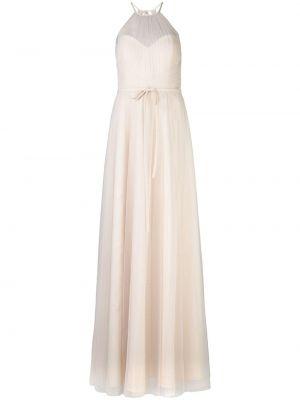 Розовое платье из фатина с открытой спиной прозрачное Marchesa Notte