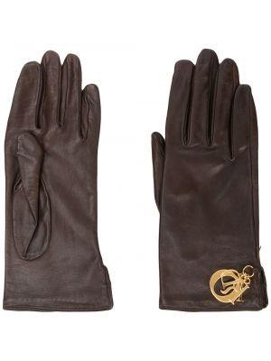Коричневые кожаные перчатки винтажные Christian Dior