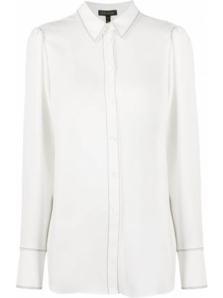 С рукавами белая рубашка на пуговицах Escada