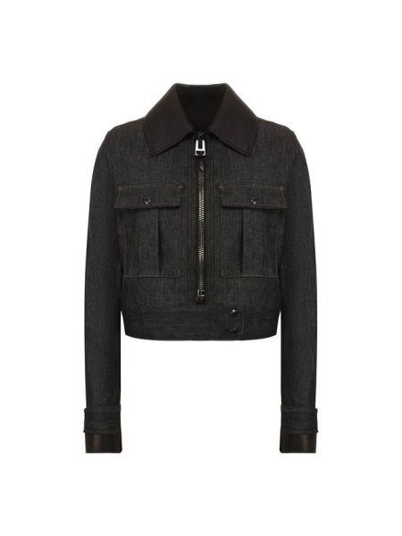 Кожаная куртка джинсовая с карманами Tom Ford