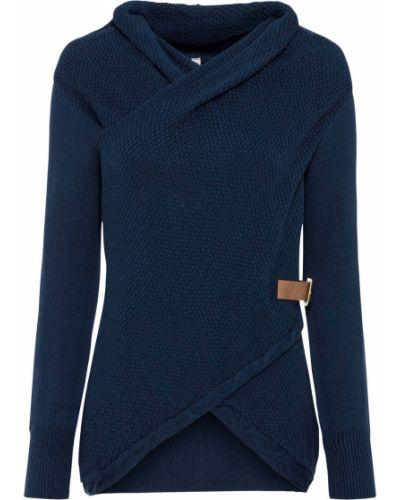 Синий пуловер с высоким воротником с запахом Bonprix