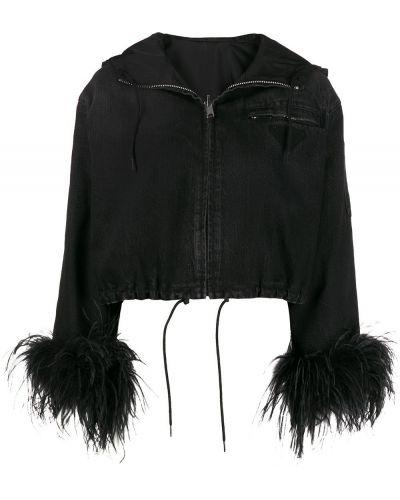 Джинсовая куртка с капюшоном - черная Prada