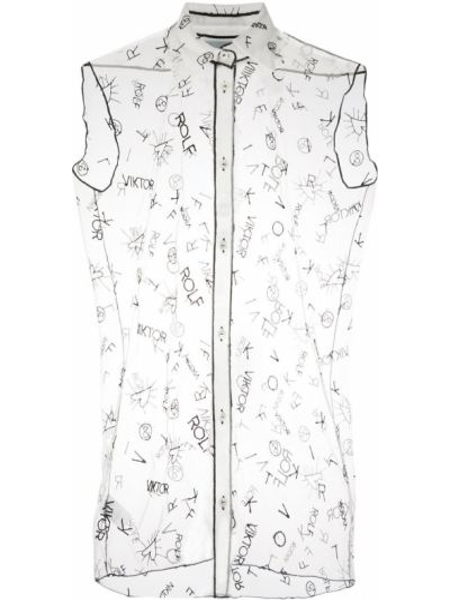 Нейлоновая блузка с воротником на пуговицах прозрачная Viktor & Rolf