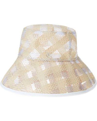 Biały kapelusz z wiskozy Maison Michel