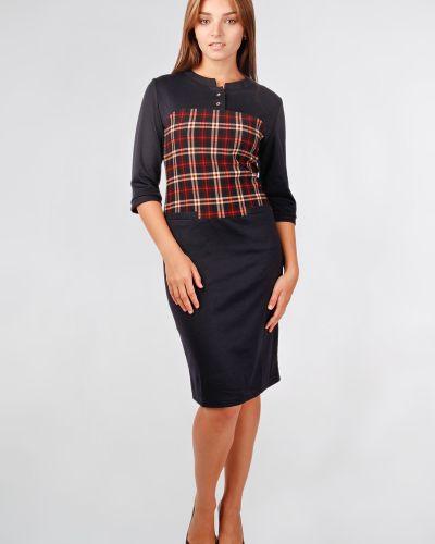 Прямое приталенное платье на пуговицах с вырезом Lila Classic Style