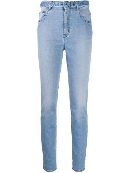 Синие джинсы-скинни с высокой посадкой на молнии Just Cavalli
