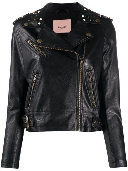 Длинная куртка черная байкерская Twin-set