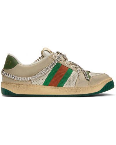 Zielony sneakersy na sznurowadłach perforowany z prawdziwej skóry Gucci