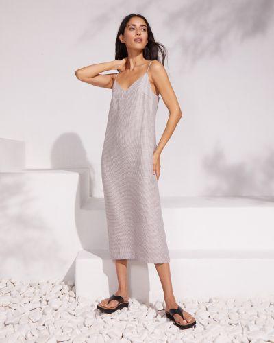 Льняное коричневое платье миди со шлицей 12storeez