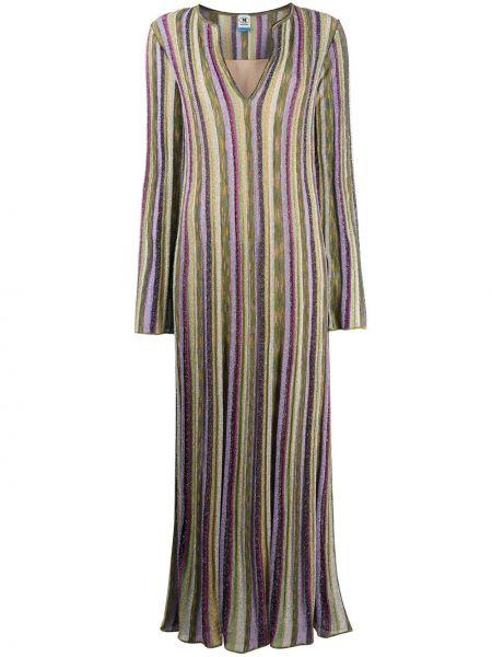Фиолетовое платье с V-образным вырезом трапеция из вискозы M Missoni