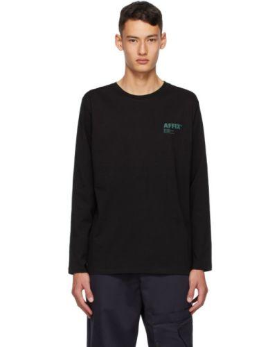 Хлопковая черная рубашка с воротником с длинными рукавами Affix