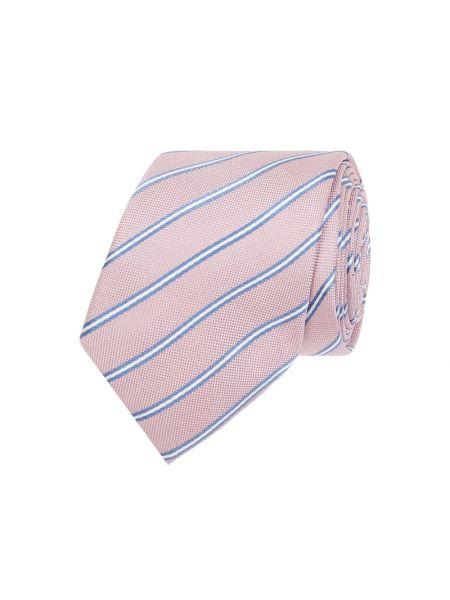 Różowy krawat w paski z jedwabiu Boss
