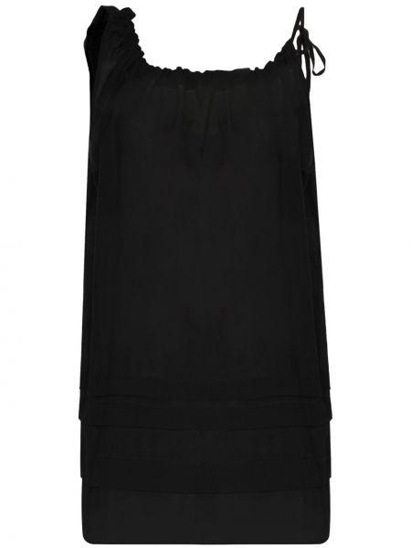 Черное платье макси на бретелях прозрачное с вырезом Araks