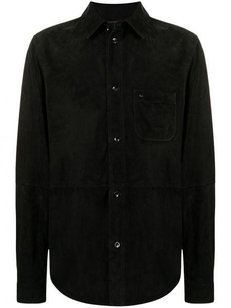 Черная классическая рубашка с длинными рукавами с воротником Stefano Ricci