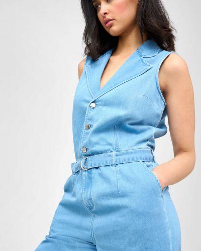 Niebieski kombinezon jeansowy bawełniany bez rękawów Orsay