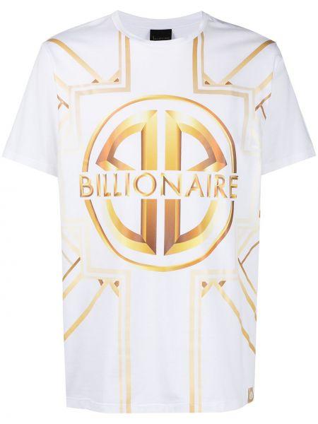 Хлопковая прямая белая футболка Billionaire