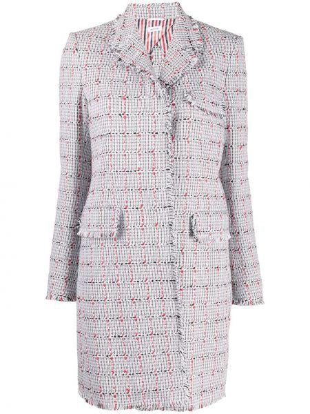 Однобортное серое шерстяное длинное пальто Thom Browne