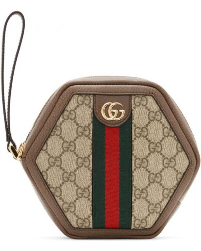 Brązowy skórzany torba prążkowany z gniazdem Gucci