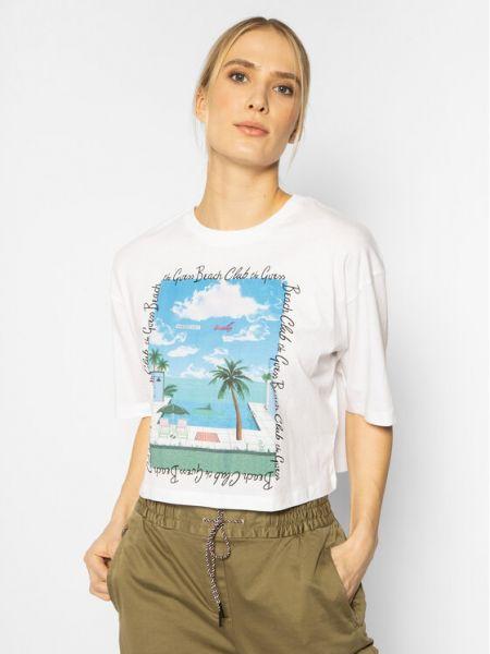 Biały t-shirt na plażę Guess