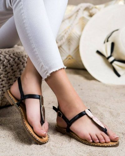 Czarne sandały japonki Seastar