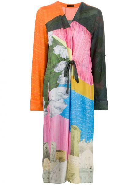 Зеленое платье миди с V-образным вырезом из вискозы с завязками Stine Goya