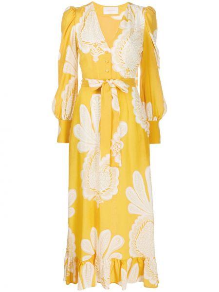 Желтое шелковое платье мини с вырезом с короткими рукавами La Doublej