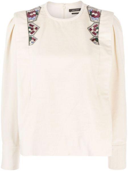 Bielizna bluzka z długim rękawem z haftem zapinane na guziki z mankietami Isabel Marant