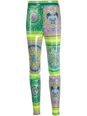 Шелковые зеленые леггинсы с высокой посадкой Versace Collection
