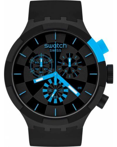Черные силиконовые часы водонепроницаемые Swatch