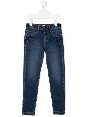 Синие облегающие джинсы-скинни на молнии Karl Lagerfeld Kids
