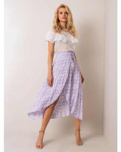 Fioletowa spódnica z wiskozy w kwiaty Fashionhunters