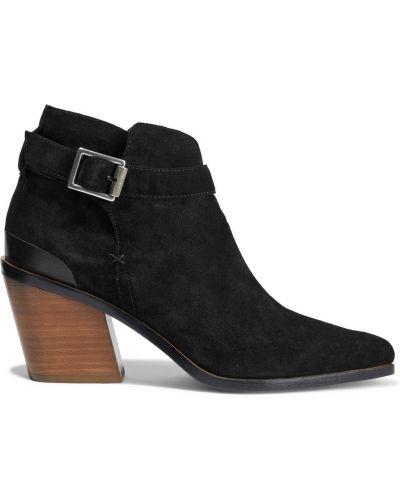 Czarne ankle boots skorzane z klamrą Rag & Bone