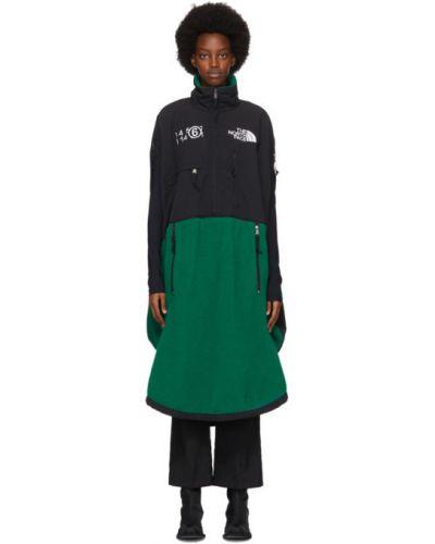 Czarny sukienka bez rękawów z kołnierzem z haftem Mm6 Maison Margiela