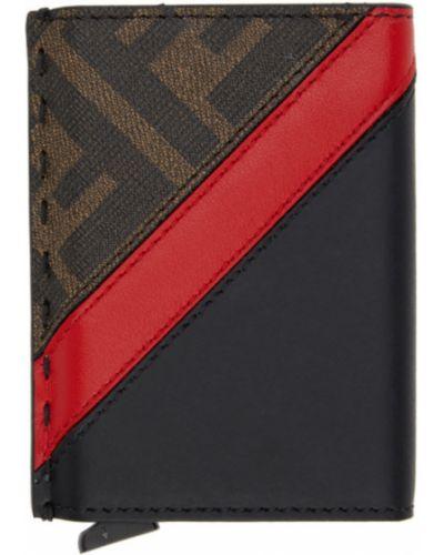 Кожаная коричневая ключница со шлицей с тиснением Fendi