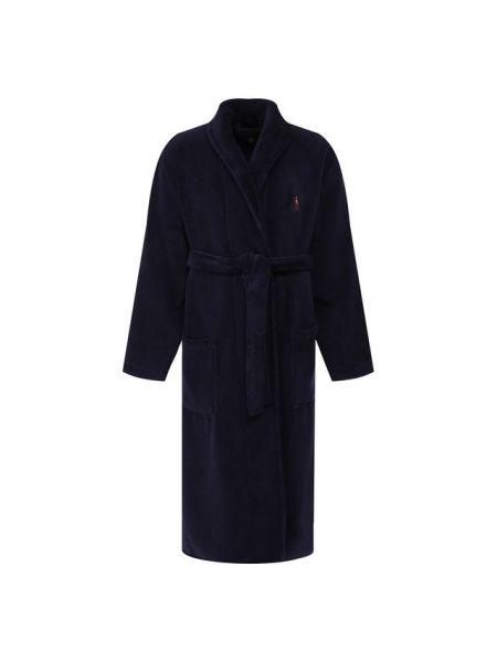 Махровый синий халат с поясом с вышивкой Ralph Lauren