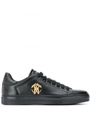 Кожаные черные кеды на шнуровке Roberto Cavalli