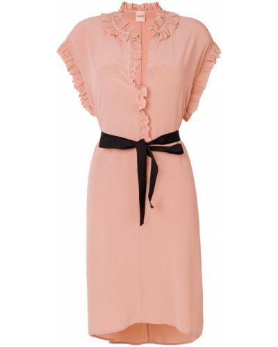 Платье миди с V-образным вырезом с оборками из вискозы Nude