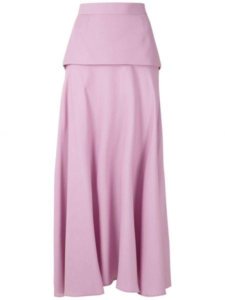 Розовая с завышенной талией юбка миди каскадная в рубчик Reinaldo Lourenço