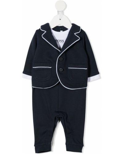 Czarny garnitur bawełniany z długimi rękawami Boss Kids