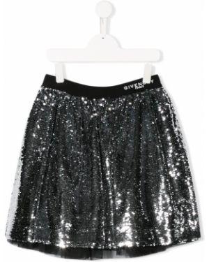 Расклешенная юбка мини с пайетками с поясом Givenchy Kids