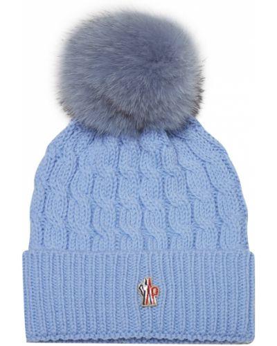 Вязаная шапка с помпоном с отворотом Moncler