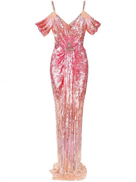 Różowa sukienka z dekoltem w serek Jenny Packham