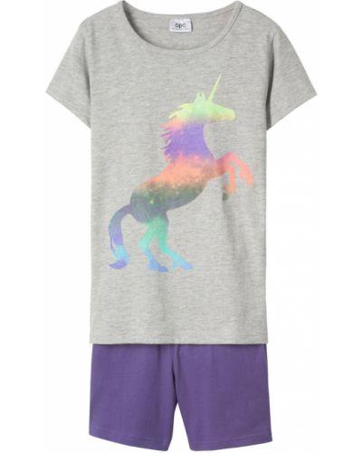 Пижама серая фиолетовый Bonprix