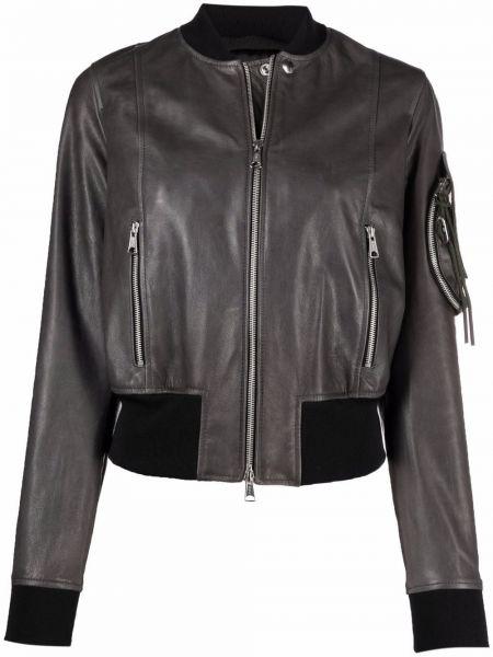 Кожаная куртка на молнии - серая Diesel