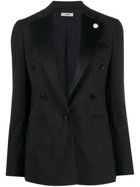 Черный приталенный пиджак с карманами Lardini
