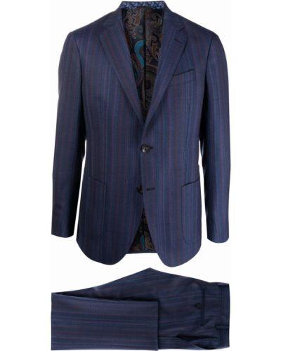 Синий костюм из вискозы на пуговицах Etro
