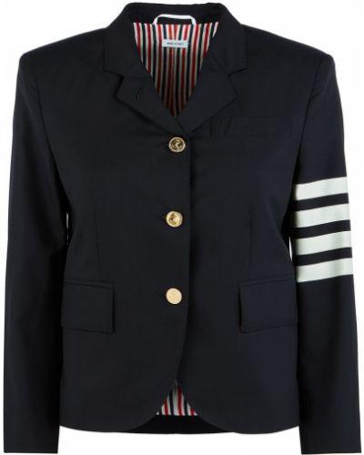 Трикотажный синий удлиненный пиджак в полоску Thom Browne