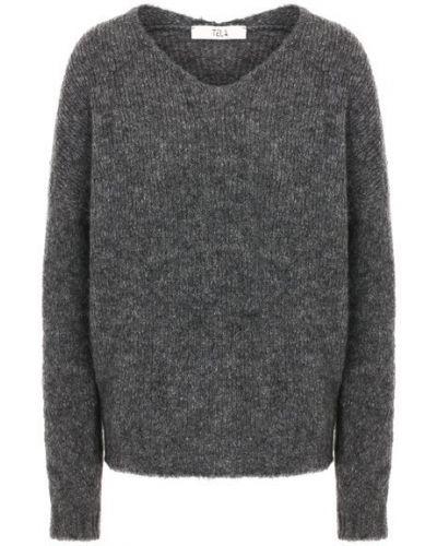 Серый шерстяной свитер с V-образным вырезом Tela